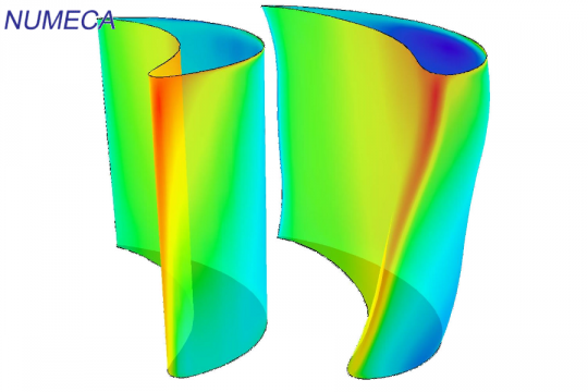 Axial turbine blade: initial (left) and optimized (right)