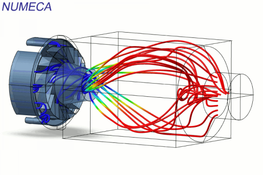 Streamlines coloured by temperature in combustor - simulation performed with partially-premixed combustion model