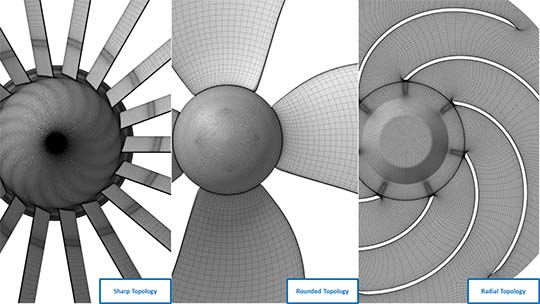 Different bulb topologies - Sharp (left), Rounded (middle) and Radial (right) topology