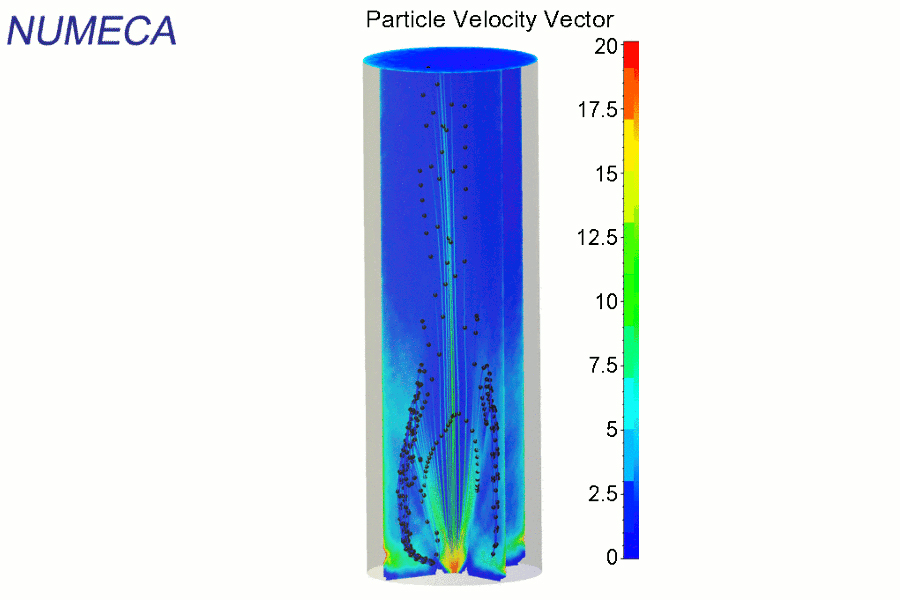 3D simulation of a hollow-cone spray in a confined domain. Color contours represent droplet volume fraction and animated streamlines represents mean droplet velocities