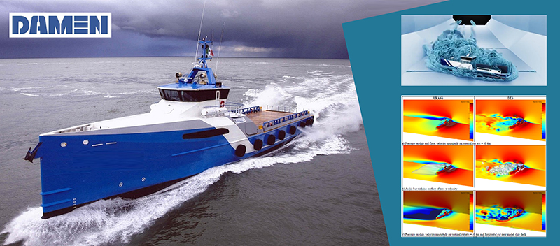 CFD methodology demonstrates a vessel has sufficient transversal stability to resist over-rolling in severe side winds, thus reduces cost of proving compliance for Damen