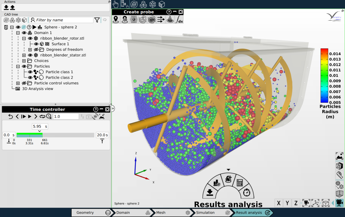 Omnis Mpacts particle motion and interaction CFD simulation