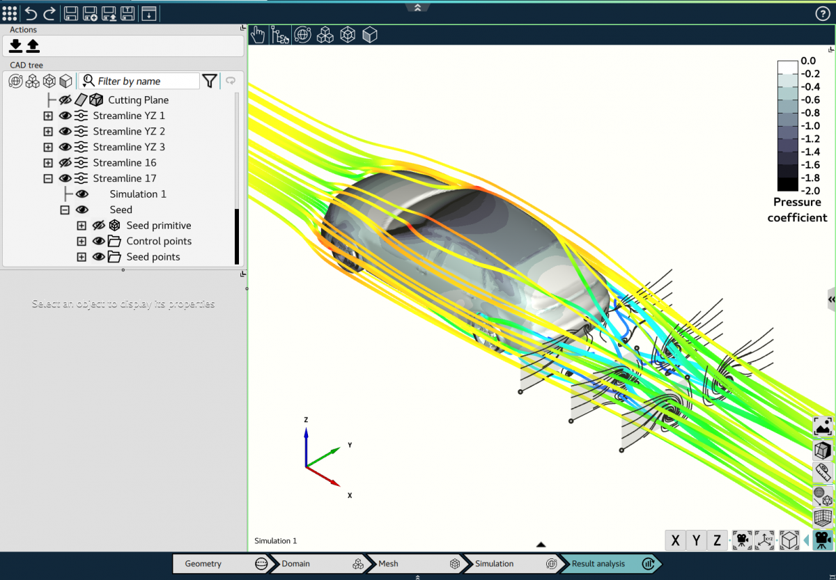 Omnis Post display streamlines CFD simulation to trace flow velocity